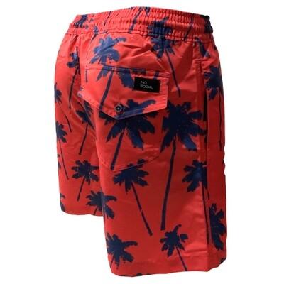 Traje de baño para hombre, modelo rojo palmeras