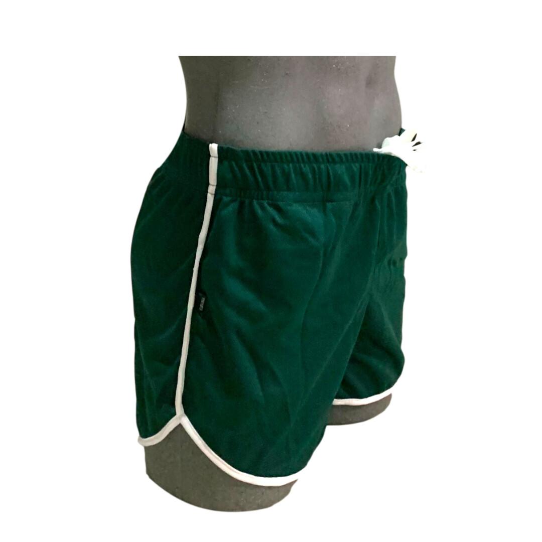 Short deportivo para hombre, cómodo verde-blanco