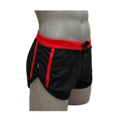 Short corto ajustado, modelo negro rojo