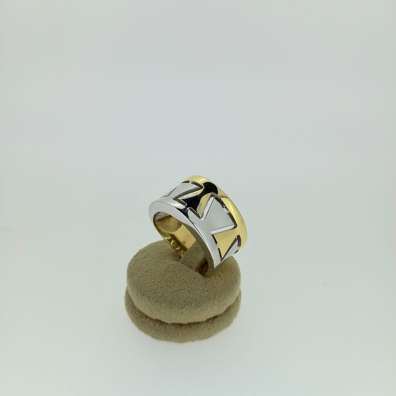Sortija bicolor oro amarillo y oro blanco