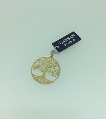 Colgante de plata bañado en oro, árbol de la vida
