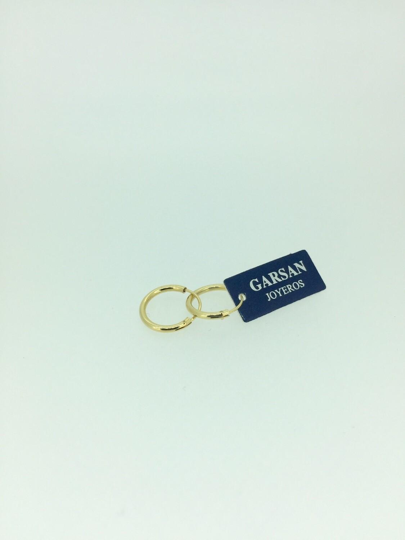 Pendientes de plata bañados en oro, 12mm de diámetro, disponibles hasta 30mm y sin baño de oro.
