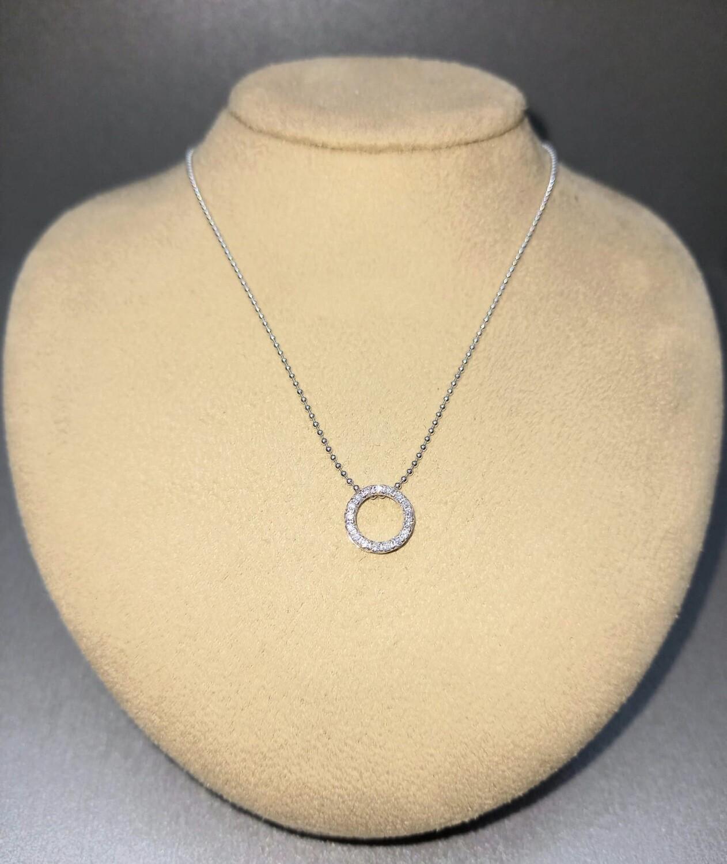 Cadena y colgante de oro blanco con diamantes talla brillante,0,10 ktes