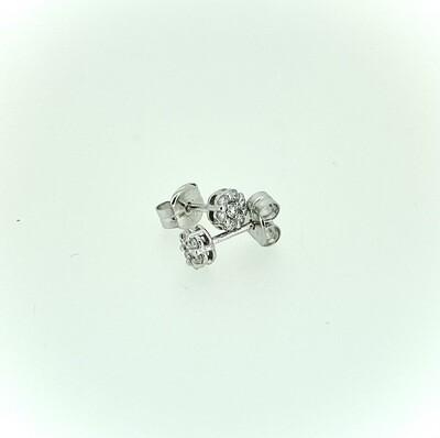 Pendientes de oro blanco de orla de diamantes talla brillante, con engaste invisible, con un peso de 0,25 ktes