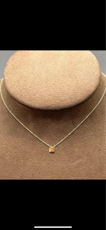 Cadena y colgante con diamante talla brillante de oro 18 ktes