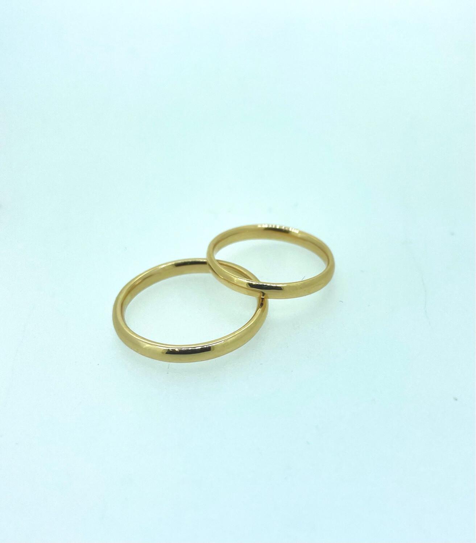 Alianzas de boda de oro amarillo de 18 ktes, Números 17 y 12, Modelo confort, precio de las dos alianzas.