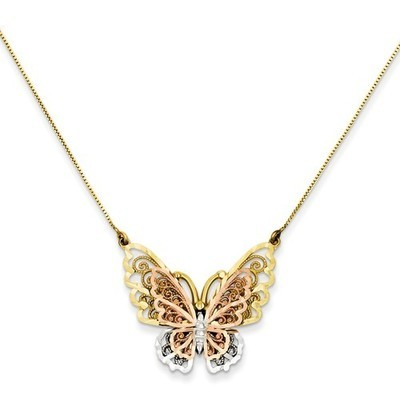 14k Yellow & Rose Gold Butterfly Necklace