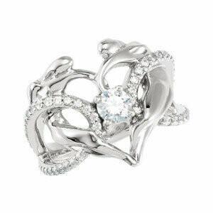 Diamond Accented Heart Ring, 14K WG