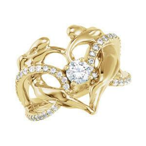 Diamond Accented Heart Ring, 14K YG