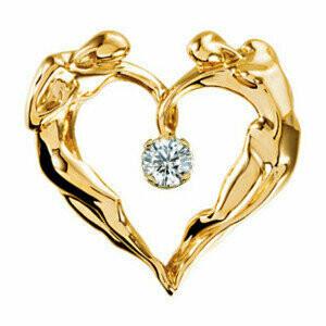 Heart Diamond Necklace, 14K YG Small