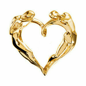 Classic Heart Necklace, 14K YG Medium