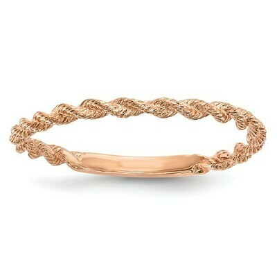 14k Rose Gold Polished Twisted Rope Ring