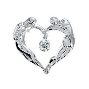 Heart Diamond Necklace, 14K WG Large