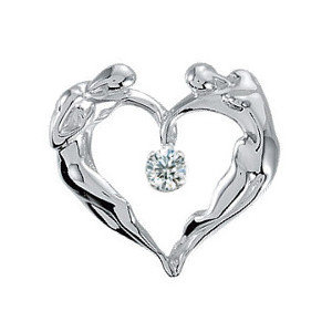 Heart CZ Necklace, .925 SS Large