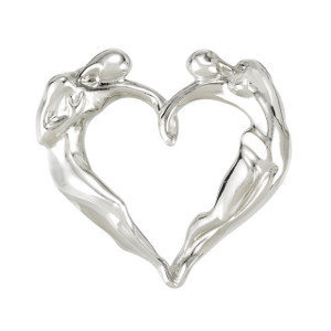 Classic Heart Necklace, 14K WG