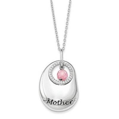 Sterling Silver Antiqued CZ For You Mother