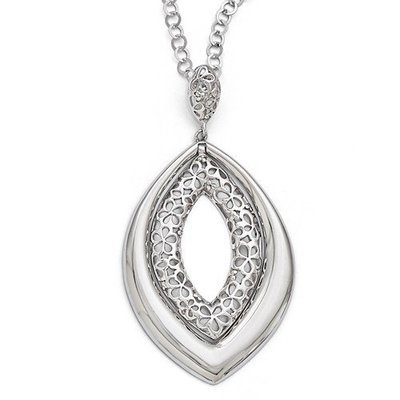 Leslies Sterling Silver Polished And Textured Necklace