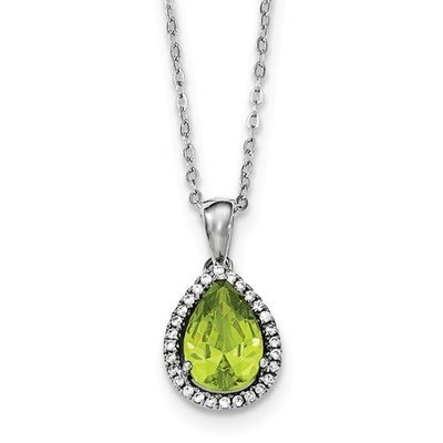 Sterling Silver CZ Created Peridot Pear Necklace