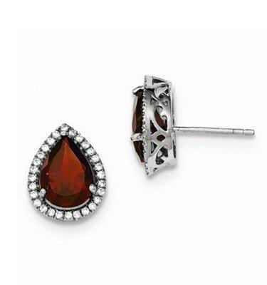 Sterling Silver CZ Garnet Pear Earrings