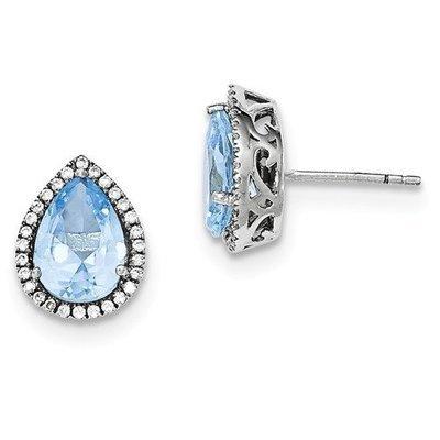 Sterling Silver CZ Aquamarine Pear Earrings