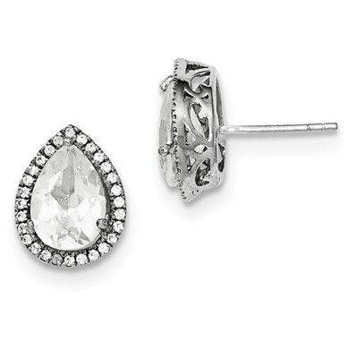 Sterling Silver CZ Created White Topaz Pear Earrings