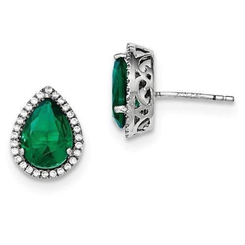 Sterling Silver CZ Created Emerald Pear Earrings