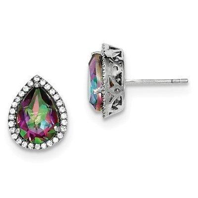Sterling Silver CZ Mystic Fire Topaz Pear Earrings