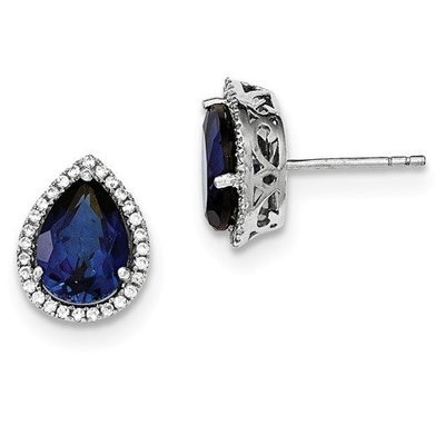 Sterling Silver CZ Created Sapphire Pear Earrings