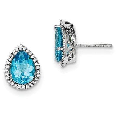 Sterling Silver CZ Sky Blue Topaz Pear Earrings