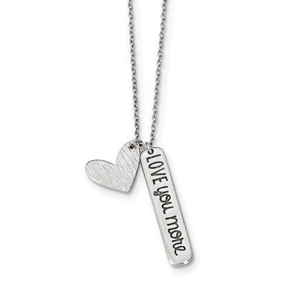 Sterling Silver Rhodium-Plated Heart Love You More Necklace