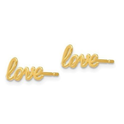 14k Gold Polished Love Post Earrings