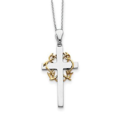 Sterling Silver And Gold-Plated No Greater Love Cross Necklace