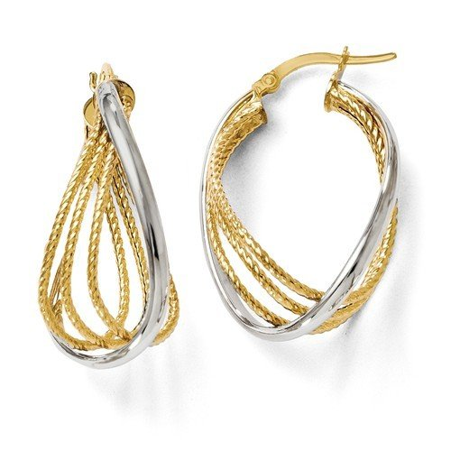 Leslie's 14k Two-Tone Polished And Textured Twisted Hoop Earrings