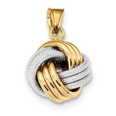 14k Two-Tone Polished Textured Love Knot Pendant