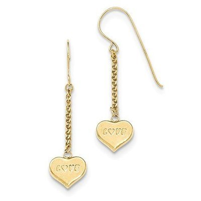 14k Puffed LOVE Heart On Chain Dangle Earrings