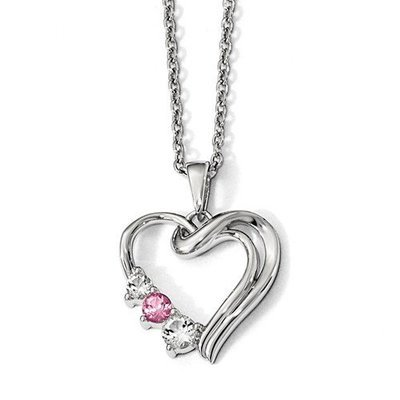 10k Survivor Clear/Pink Swarovski Topaz Heart Of Healing Necklace