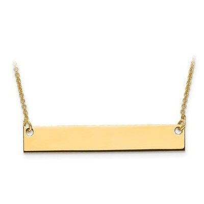 10k Medium Polished Blank Bar With Chain
