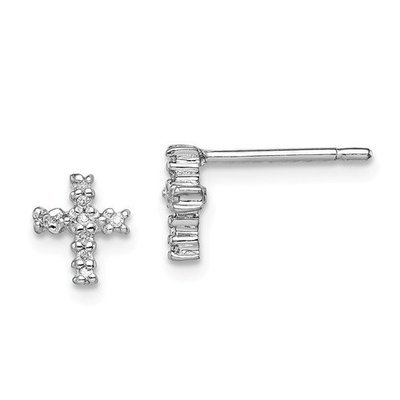Sterling Silver Rhodium Diamond Cross Post Earrings