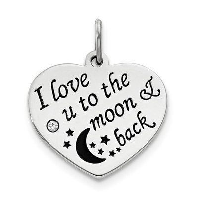 Sterling Silver Polish/Enamel Swarovski Zirconia To The Moon Pendant
