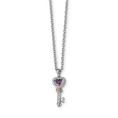 Sterling Silver And 14k Amethyst And Diamond Key Necklace
