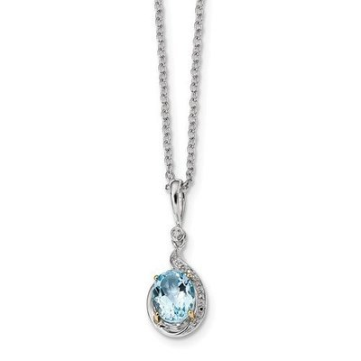 Sterling Silver And 14k Sky Blue Topaz Diamond Necklace