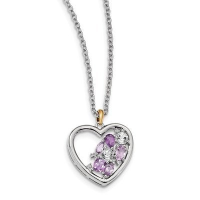 Sterling Silver And 14K Amethyst And Topaz And Diamond Necklace