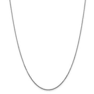 14k White Gold 1.45mm Solid Diamond Cut Cable Chain