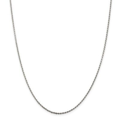 Sterling Silver 16in 1.5mm Diamond-Cut Rope Chain