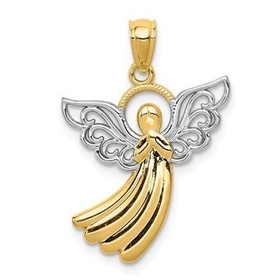 14k With Rhodium Filigree Angel Pendant