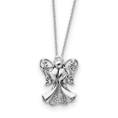 Sterling Silver CZ Antiqued Angel Of Strength 18in Necklace