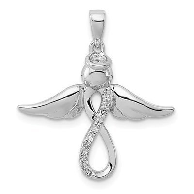 Sterling Silver Rhodium-Plated Diamond Angel Pendant