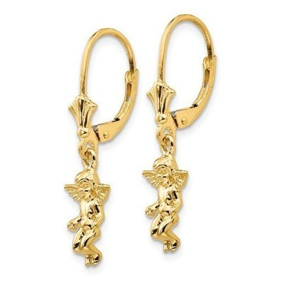 14k 3-D Mini Guardian Angel Leverback Earrings