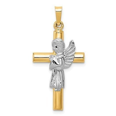 14k Two-Tone Angel And Cross Pendant