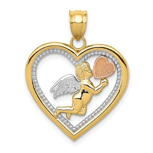 14k Yellow, Rose And Rhodium Angel Heart Pendant